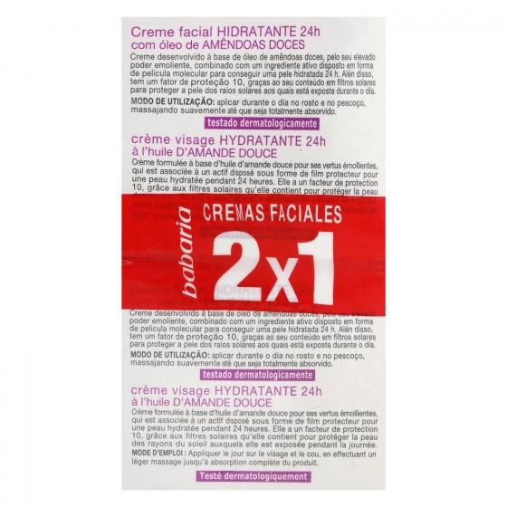 Crema facial hidratante con aceite de almendras dulces Babaria pack de 2 unidades de 50 ml. - 3