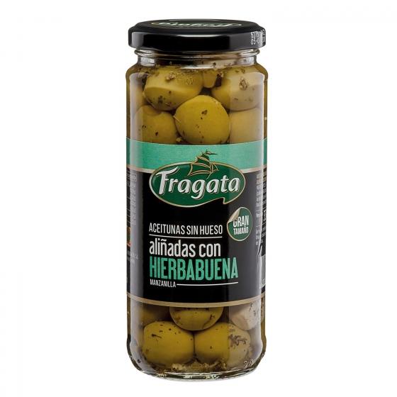Aceitunas manzanilla sin hueso aliñadas con hierbabuena Fragata 163 g.