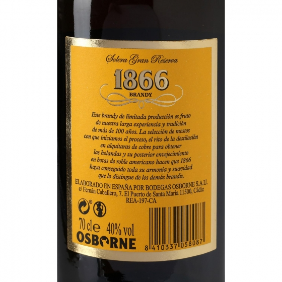 Brandy 1866 solera Gran Reserva 70 cl. - 3