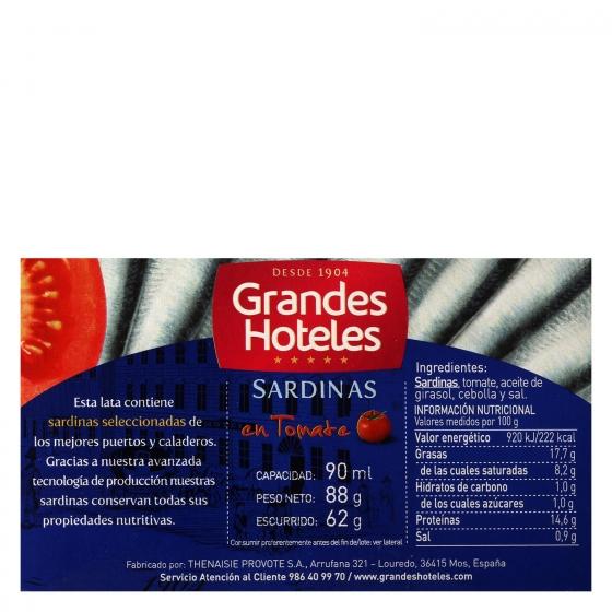 Sardinillas en tomate Grand Hotel sin gluten 60 g. - 1
