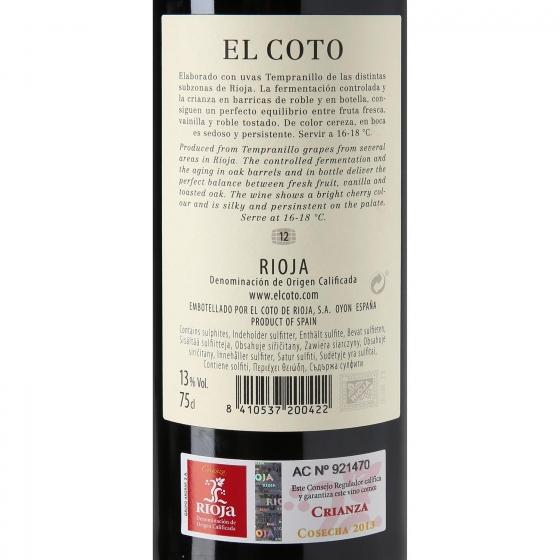 Vino D.O. Rioja tinto crianza El Coto 75 cl. - 3