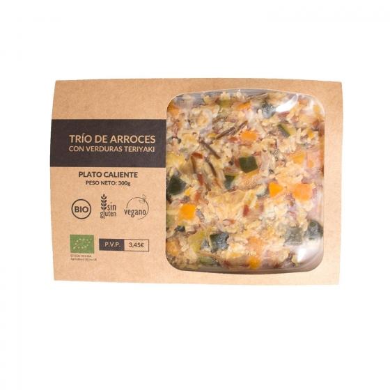 Trío de arroces con verduras y salsa teriyaki Biomenú 330 g