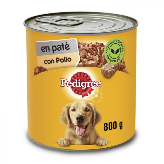 Comida húmeda de pollo para perros adultos Pedigree 800 g.