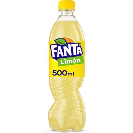Refresco de limón Fanta con gas botella 50 cl.