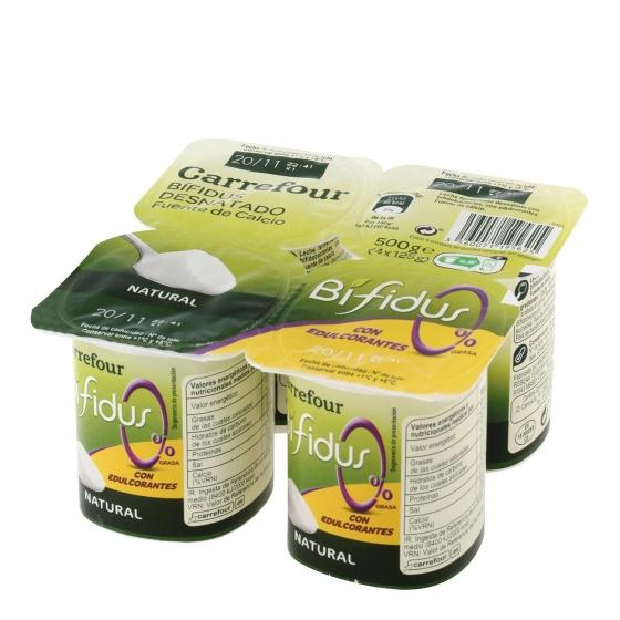 Yogur bífidus desnatado edulcorado natural Carrefour pack de 4 unidades de 125 g.