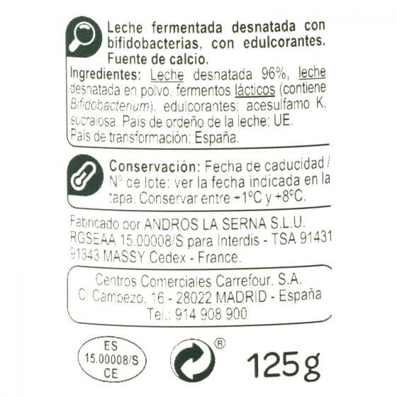 Yogur bífidus desnatado edulcorado natural Carrefour pack de 4 unidades de 125 g. - 1