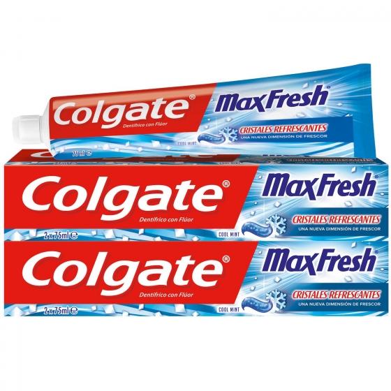 Dentífrico Max Fresh Cool Mint Tubo Duplo Colgate pack de 2 unidades de 75 ml.