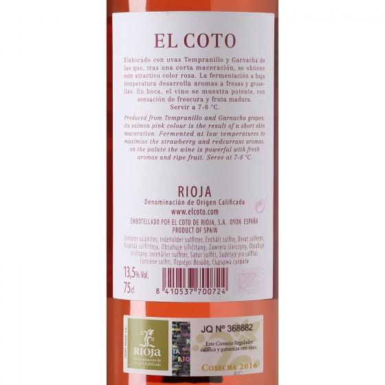 Vino D.O. Rioja rosado El Coto 75 cl. - 3