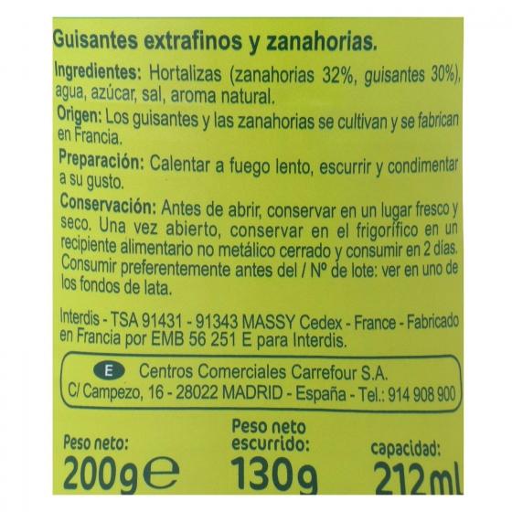 Guisantes con Zanahoria Carrefour pack de 3 unidades de 130 g. - 1