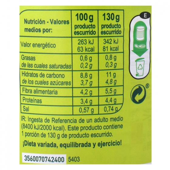 Guisantes con Zanahoria Carrefour pack de 3 unidades de 130 g. - 3