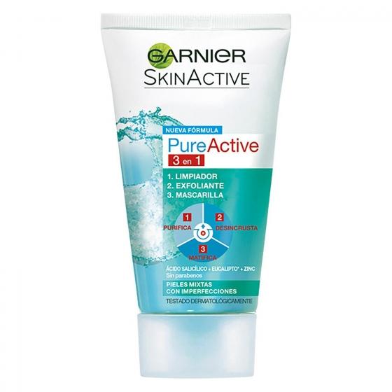 Limpiador facial Pure Active 3 en 1 Garnier Skin Active 150 ml.