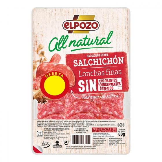 Salchichón artesano All Natural El Pozo 80 g.
