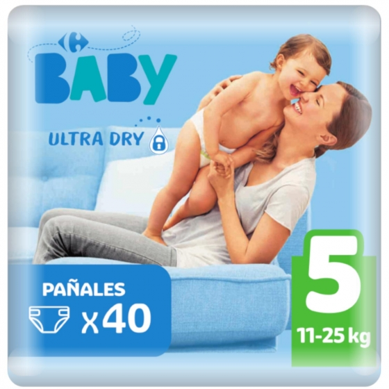Pañales ultra dry Carrefour Baby T5 (11kg.-25kg.) 40 ud.