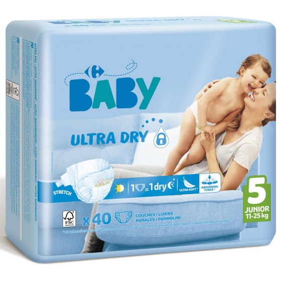 Pañales ultra dry Carrefour Baby T5 (11kg.-25kg.) 40 ud. - 1