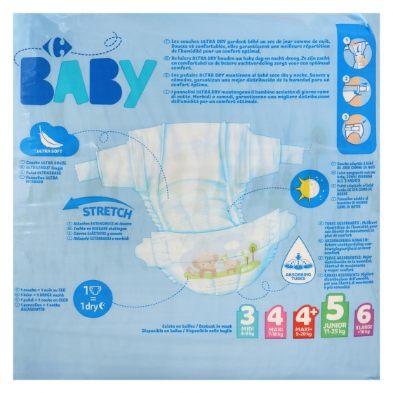 Pañales ultra dry Carrefour Baby T5 (11kg.-25kg.) 40 ud. - 4