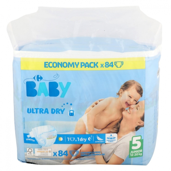Pañales ultra dry Carrefour Baby T5 (11kg.-25kg.) 84 ud.