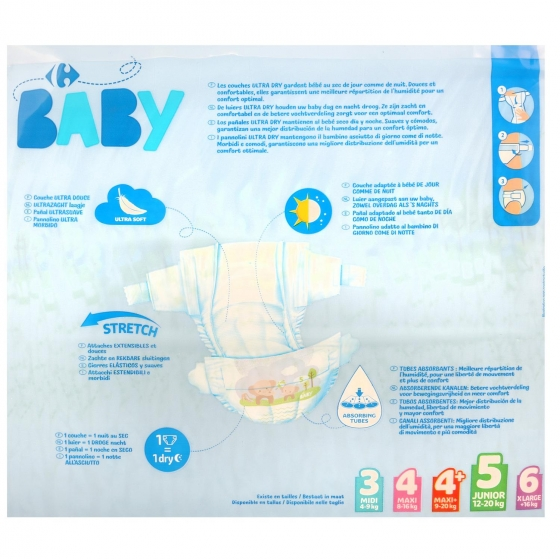 Pañales ultra dry Carrefour Baby T5 (11kg.-25kg.) 84 ud. - 3