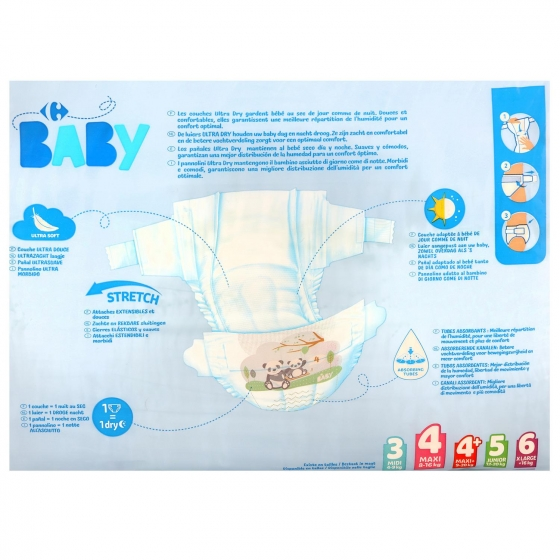 Pañales ultra dry Carrefour Baby T4 (7kg.-18kg.) 45 ud. - 1