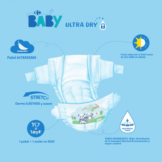 Pañales ultra dry Carrefour Baby T4 (7kg.-18kg.) 45 ud. - 5