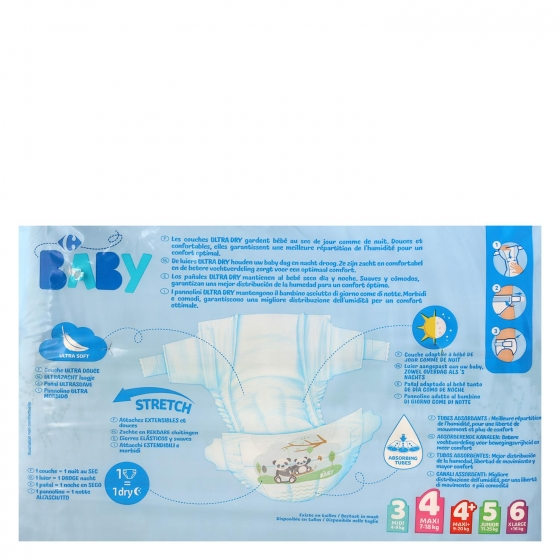 Pañales ultra dry Carrefour Baby T4 (7kg.-18kg.) 45 ud. - 6