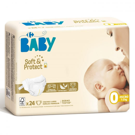 Pañales Carrefour Baby soft&protect Talla 0 (1-3 kg) 24 ud. - 1