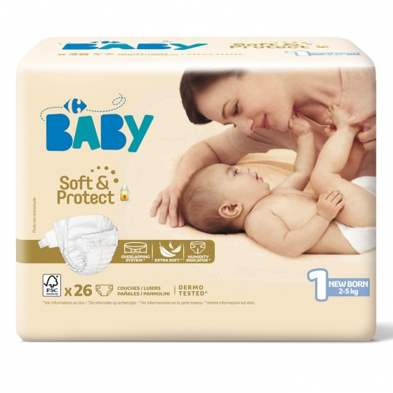Pañales soft&protect Carrefour Baby T1 (2kg.-5kg.) 26 ud. - 1