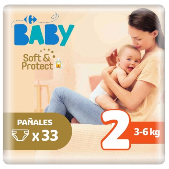 Pañales soft&protect Carrefour Baby T2 (3kg.-6kg.)