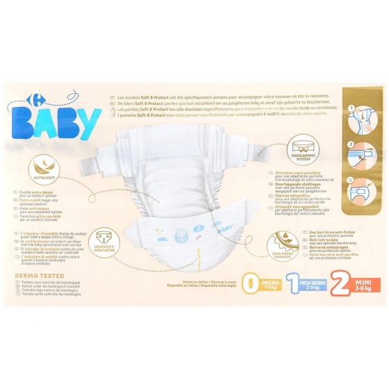 Pañales soft&protect Carrefour Baby T2 (3kg.-6kg.) - 5
