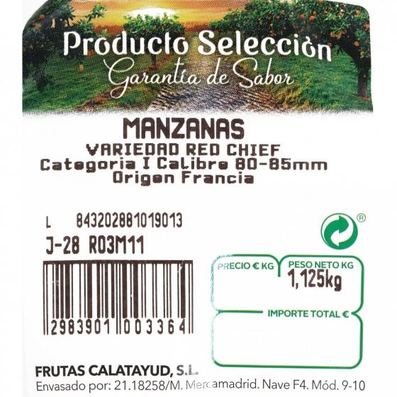 Manzana roja premium selecta Carrefour bandeja 4 ud 1 Kg aprox - 3