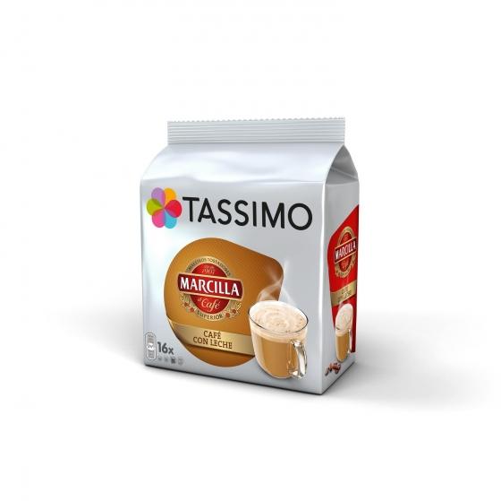Café con leche en cápsulas Marcilla Tassimo 16 unidades de 11,5 g.