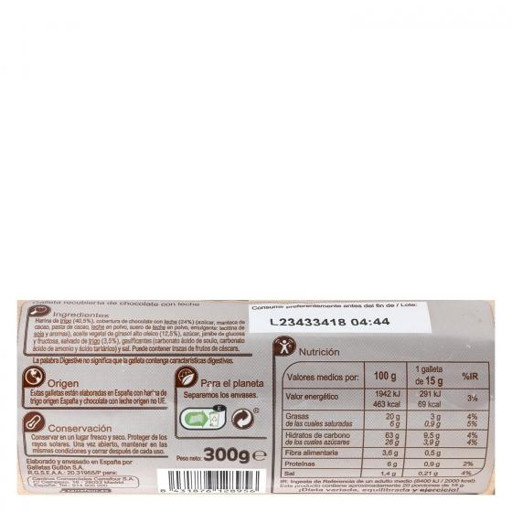 Galletas de chocolate con leche Digestive Carrefour 300 g. - 1