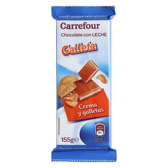 Chocolate con leche relleno de galleta Carrefour 155 g.