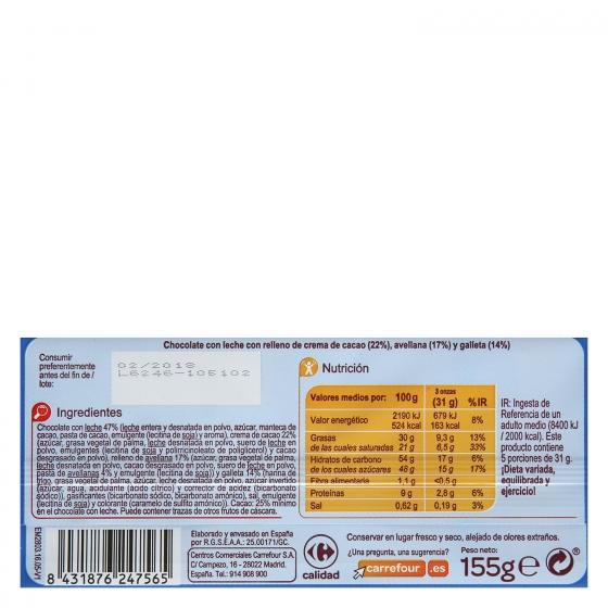 Chocolate con leche relleno de galleta Carrefour 155 g. - 1
