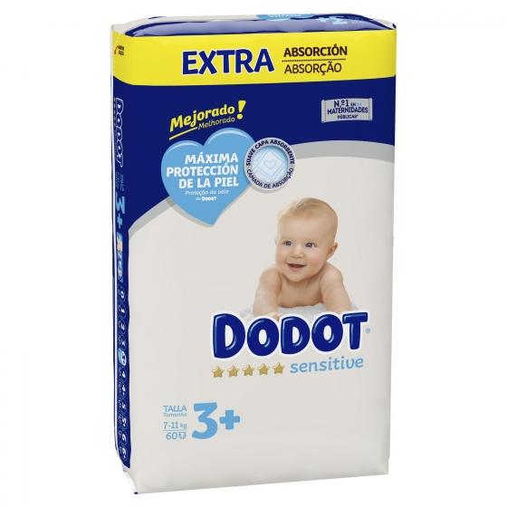 Pañales Dodot Sensitive extra absorción T3 (7kg-11kg.) 60 ud. - 1
