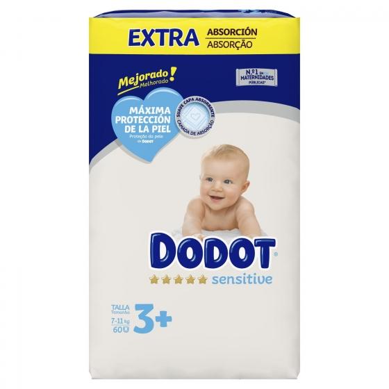 Pañales Dodot Sensitive extra absorción T3 (7kg-11kg.) 60 ud. - 3