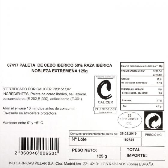 Paleta ibérica de cebo en lonchas Villar 125 g - 3