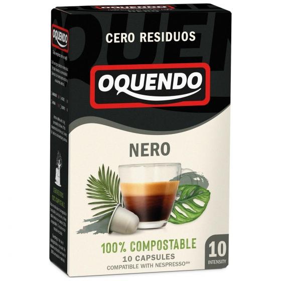Café nero muy intenso en cápsulas Oquendo compatible con Nespresso 10 unidades de 4,5 g.