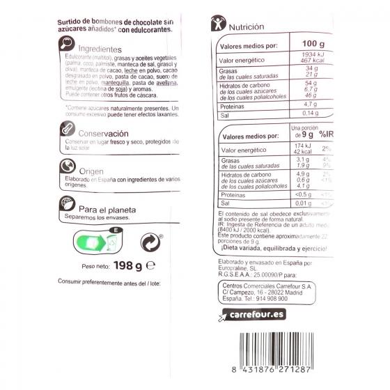 Bombones surtidos de chocolate negro, avellana y trufa sin azúcar añadido Carrefour sin gluten 198 g. - 1