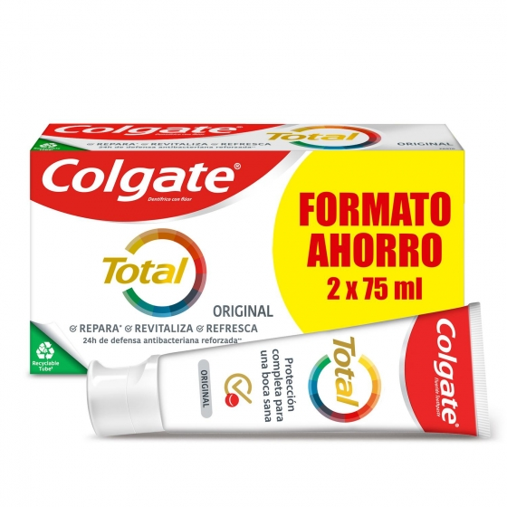 Dentífrico Total original Colgate pack de 2 unidades de 75 ml.