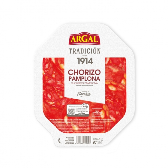 Chorizo de Pamplona en lonchas Argal sin gluten 75 g.