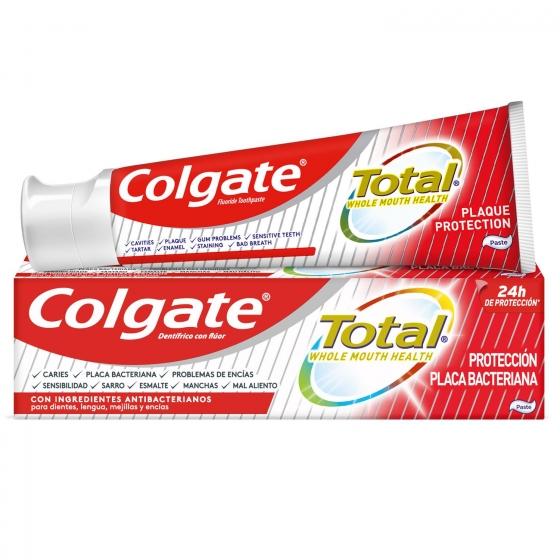 Dentífrico placa bacteriana 12h de protección completa Colgate Total 75 ml.