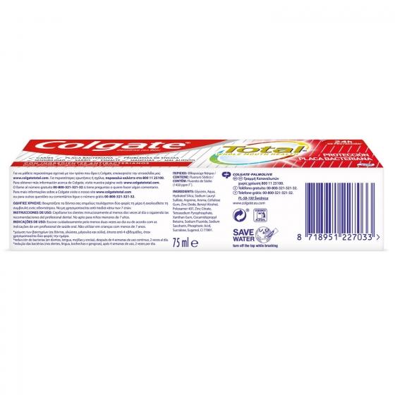 Dentífrico placa bacteriana 12h de protección completa Colgate Total 75 ml. - 4
