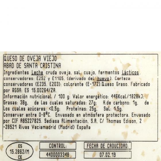 Queso curado de oveja graso El Abad de Santa Cristina cuña 1/8 375 g aprox - 1