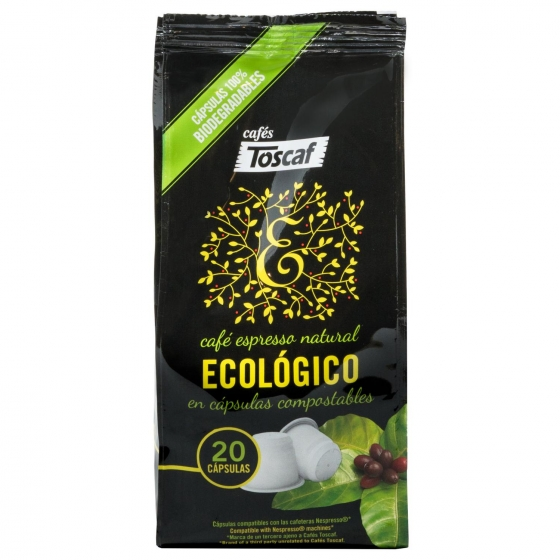 Café molido natural ecológico en cápsulas Toscaf compatible con Nespresso 20 unidades de 5,2 g.