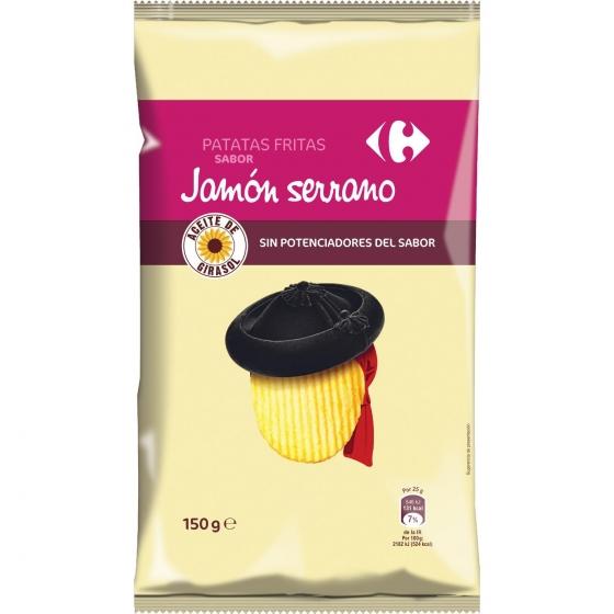 Patatas frittas sabor jamón serrano Carrefour 150 g.