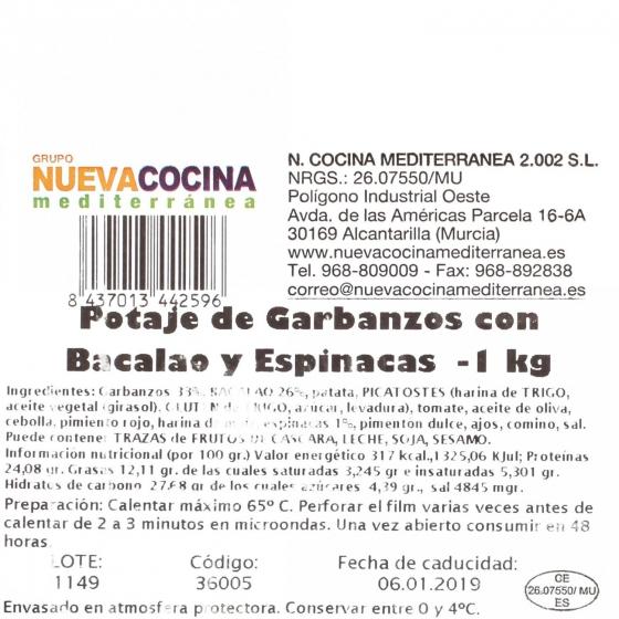 Potaje con bacalao y espinacas Nueva Cocina Mediterránea 1 kg aprox - 1