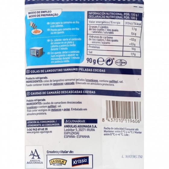 Colas de langostino cocidas Aguinamar 90 g - 3