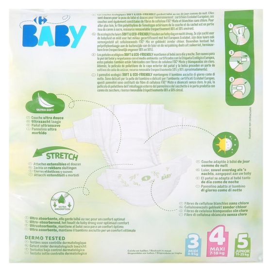 Pañales soft&eco-friendly ecologicos Carrefour Baby T4 (7kg.-18kg.) 28 ud. - 1