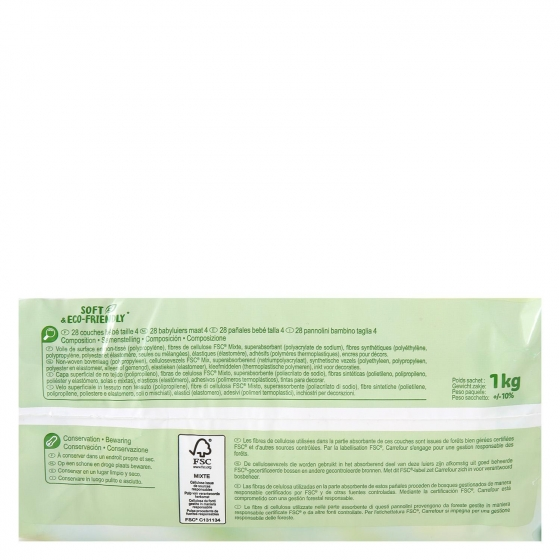 Pañales soft&eco-friendly ecologicos Carrefour Baby T4 (7kg.-18kg.) 28 ud. - 3