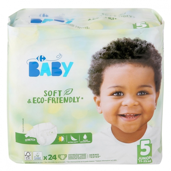 Pañales soft&eco-friendly ecologicos Carrefour Baby T5 (11kg.-25kg.) 24 ud.